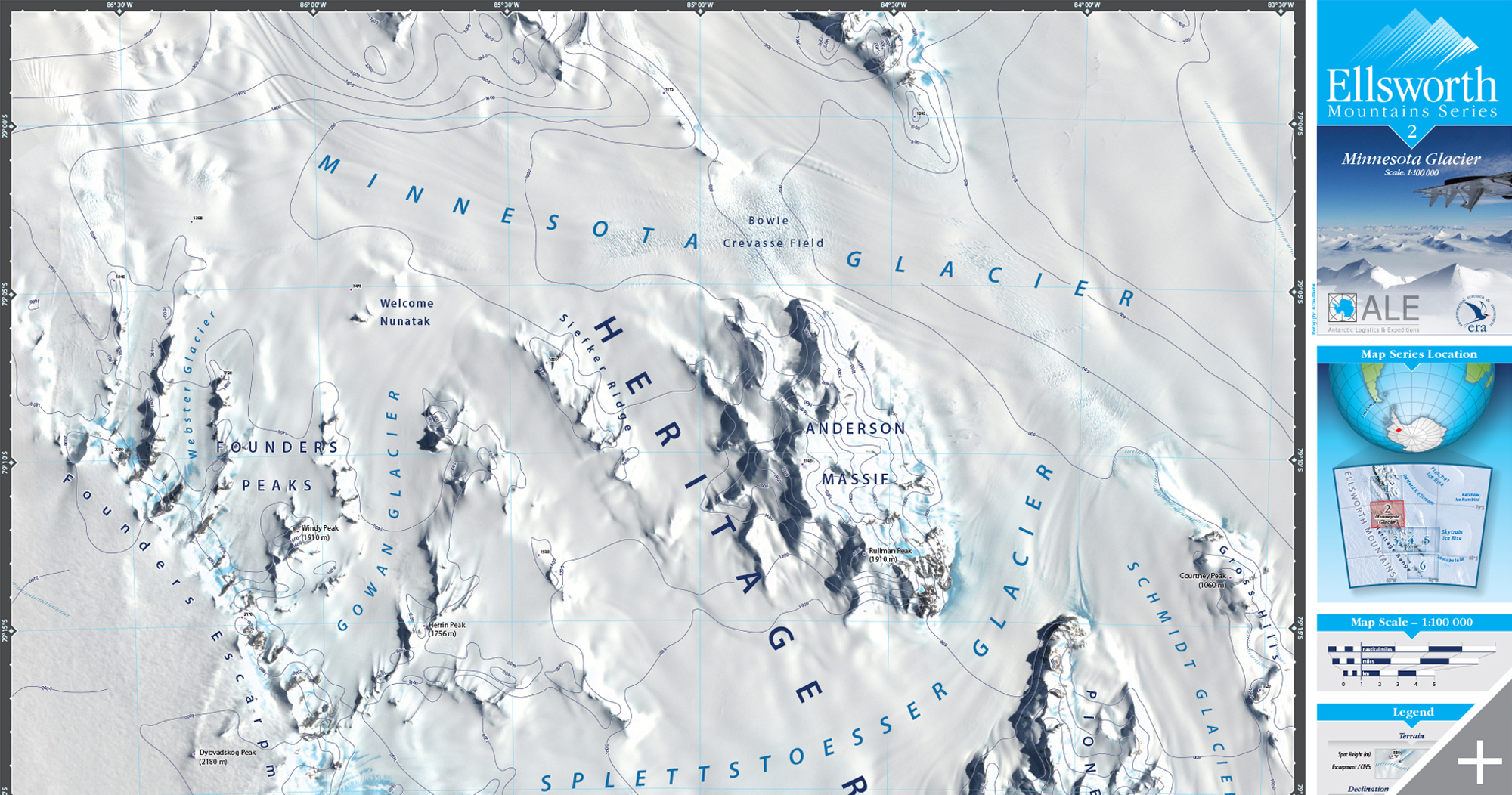MAP DESIGN - Antarctic Logistics & Expeditions/Ellsworth Mountain Series - ©UnParalleled, LLC dba UP-Ideas / Roger Sawhill / Mark Braught - Atlanta, Georgia | Lawrenceville, Georgia | Commerce, Georgia