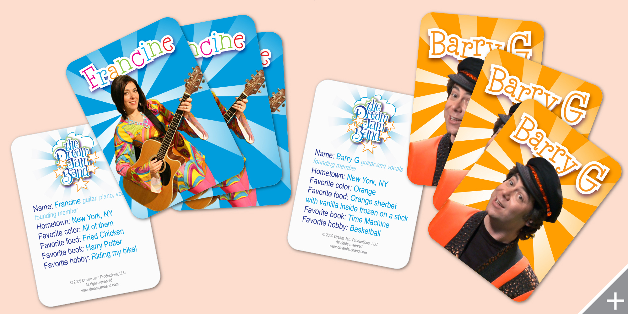 PRINT DESIGN/MERCHANDISE DESIGN - The Dream Jam Band   Trading Cards - ©UnParalleled, LLC dba UP-Ideas / Roger Sawhill / Mark Braught - Atlanta, Georgia   Lawrenceville, Georgia   Commerce, Georgia
