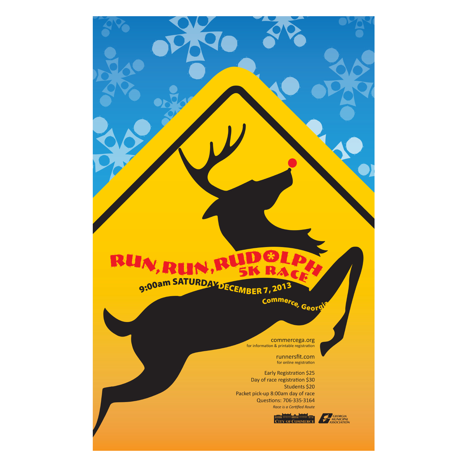 PRINT DESIGN - City of Commerce Run Run Rudolph 5K | poster - ©UnParalleled, LLC dba UP-Ideas / Roger Sawhill / Mark Braught - Atlanta, Georgia | Lawrenceville, Georgia | Commerce, Georgia