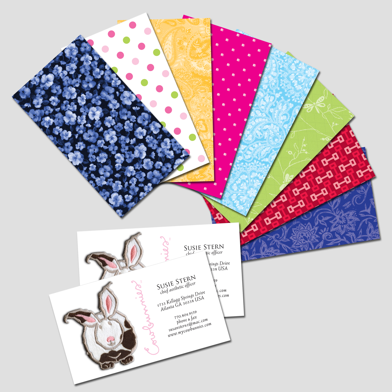 PRINT DESIGN - Cowbunnies | business cards - ©UnParalleled, LLC dba UP-Ideas / Roger Sawhill / Mark Braught - Atlanta, Georgia | Lawrenceville, Georgia | Commerce, Georgia