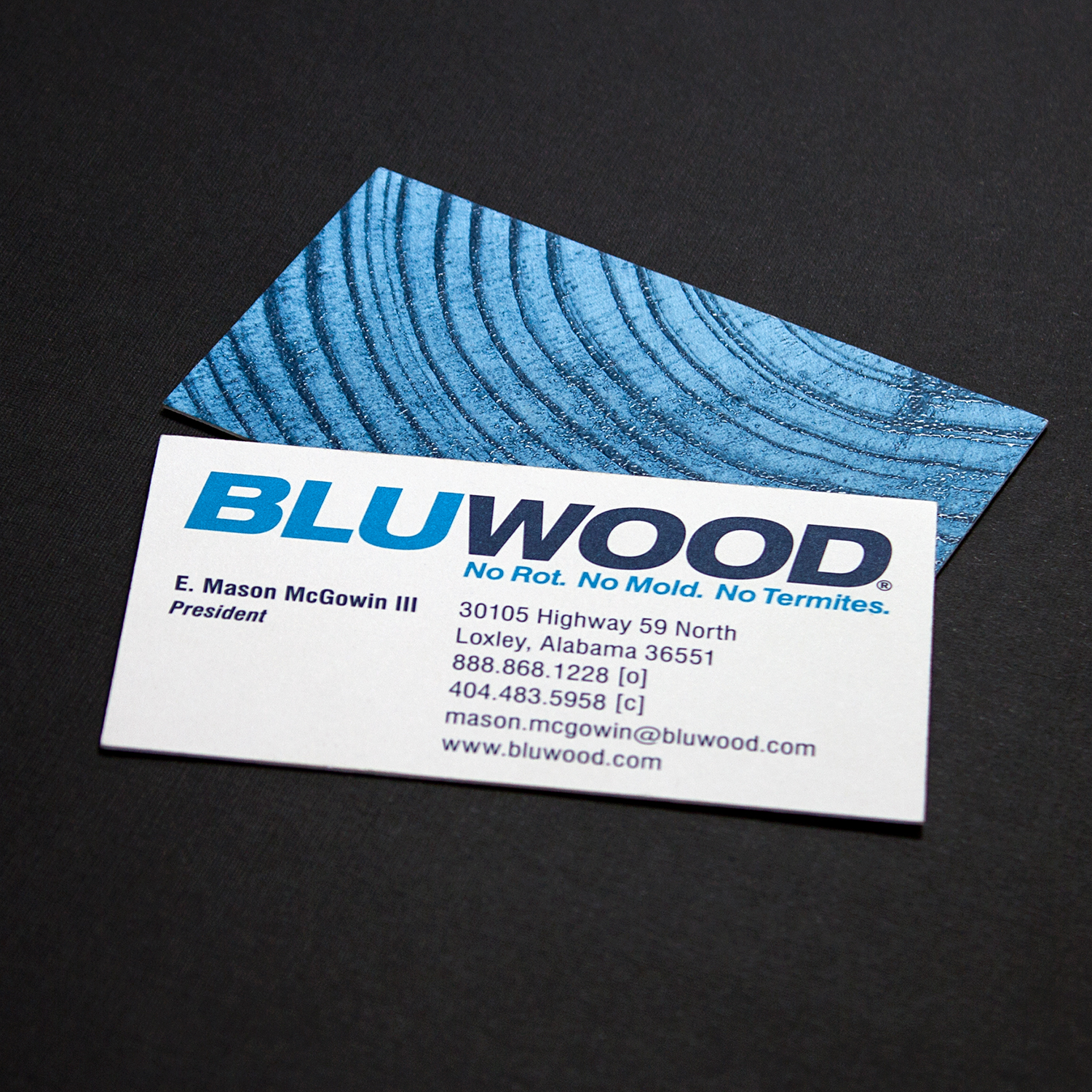 PRINT DESIGN - BluWood | business cards - ©UnParalleled, LLC dba UP-Ideas / Roger Sawhill / Mark Braught - Atlanta, Georgia | Lawrenceville, Georgia | Commerce, Georgia