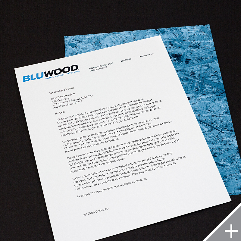 PRINT DESIGN - BluWood | letterhead - ©UnParalleled, LLC dba UP-Ideas / Roger Sawhill / Mark Braught - Atlanta, Georgia | Lawrenceville, Georgia | Commerce, Georgia