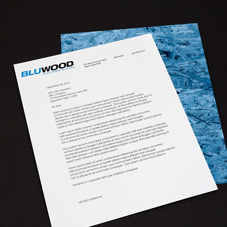 PRINT DESIGN - BluWood | letterhead - ©UnParalleled, LLC dba UP-Ideas / Roger Sawhill / Mark Braught - Atlanta, Georgia | Lawrenceville, Georgia | Commerce, Georgia