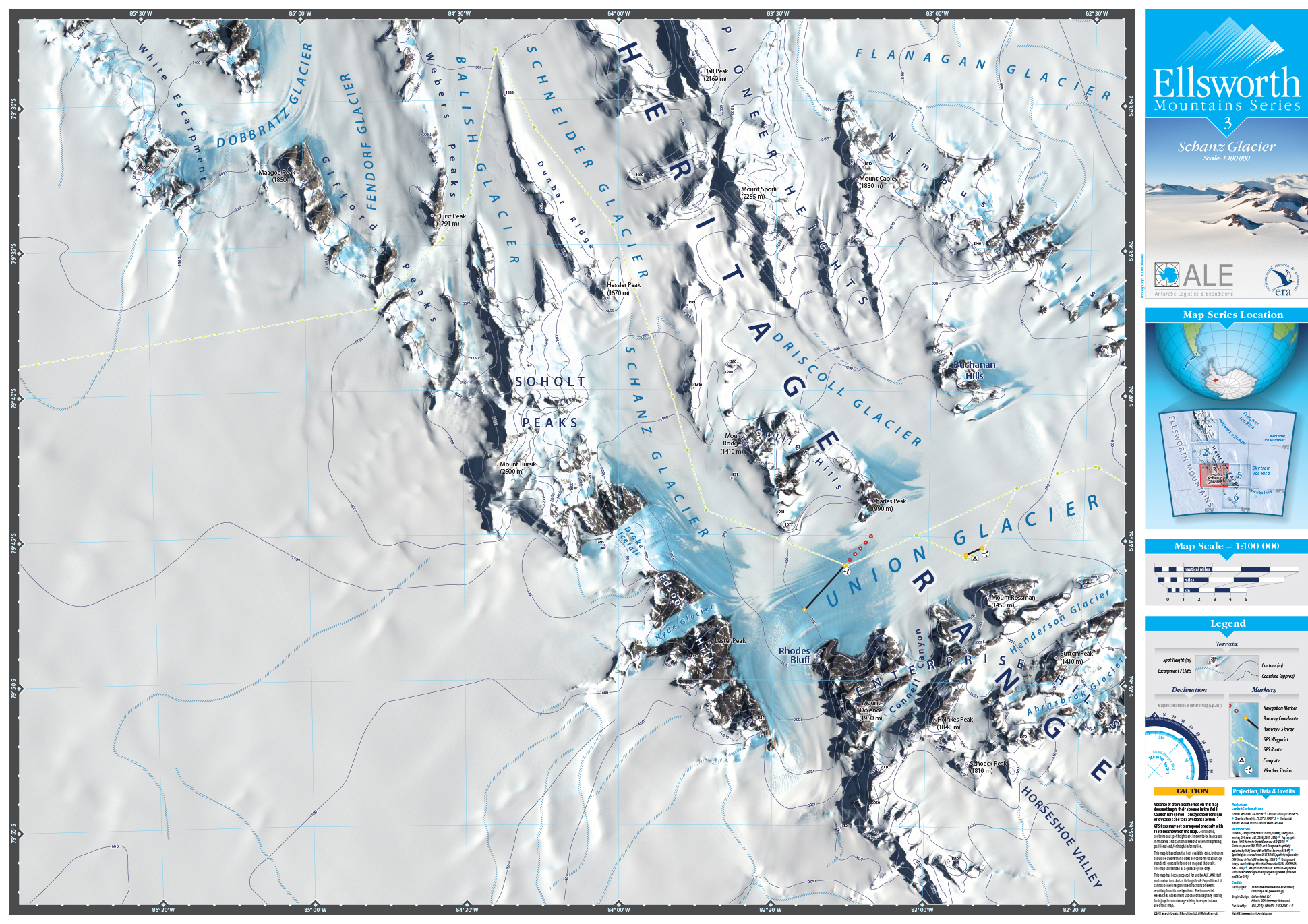 MAP DESIGN - Antarctic Logistics & Expeditions | Ellsworth Mountain Map Series | 3 Shanz Glacier - ©UnParalleled, LLC dba UP-Ideas / Roger Sawhill / Mark Braught - Atlanta, Georgia | Lawrenceville, Georgia | Commerce, Georgia