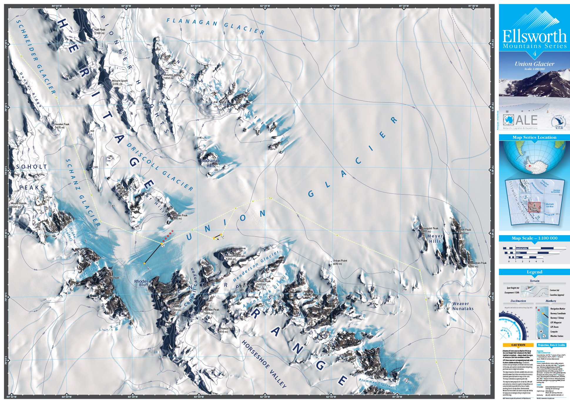 MAP DESIGN - Antarctic Logistics & Expeditions | Ellsworth Mountain Map Series | 4 Union Glacier - ©UnParalleled, LLC dba UP-Ideas / Roger Sawhill / Mark Braught - Atlanta, Georgia | Lawrenceville, Georgia | Commerce, Georgia