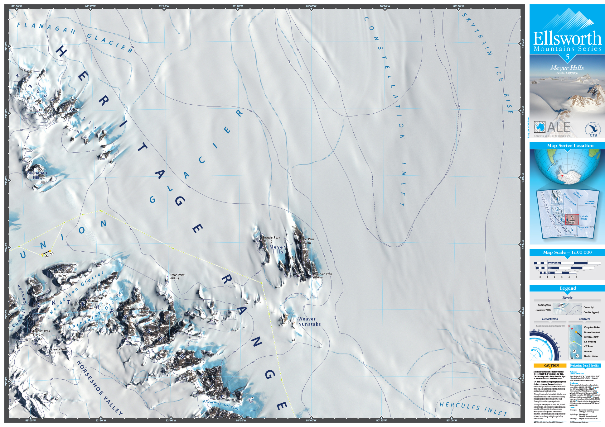 MAP DESIGN - Antarctic Logistics & Expeditions | Ellsworth Mountain Map Series | 5 Meyer Hills - ©UnParalleled, LLC dba UP-Ideas / Roger Sawhill / Mark Braught - Atlanta, Georgia | Lawrenceville, Georgia | Commerce, Georgia