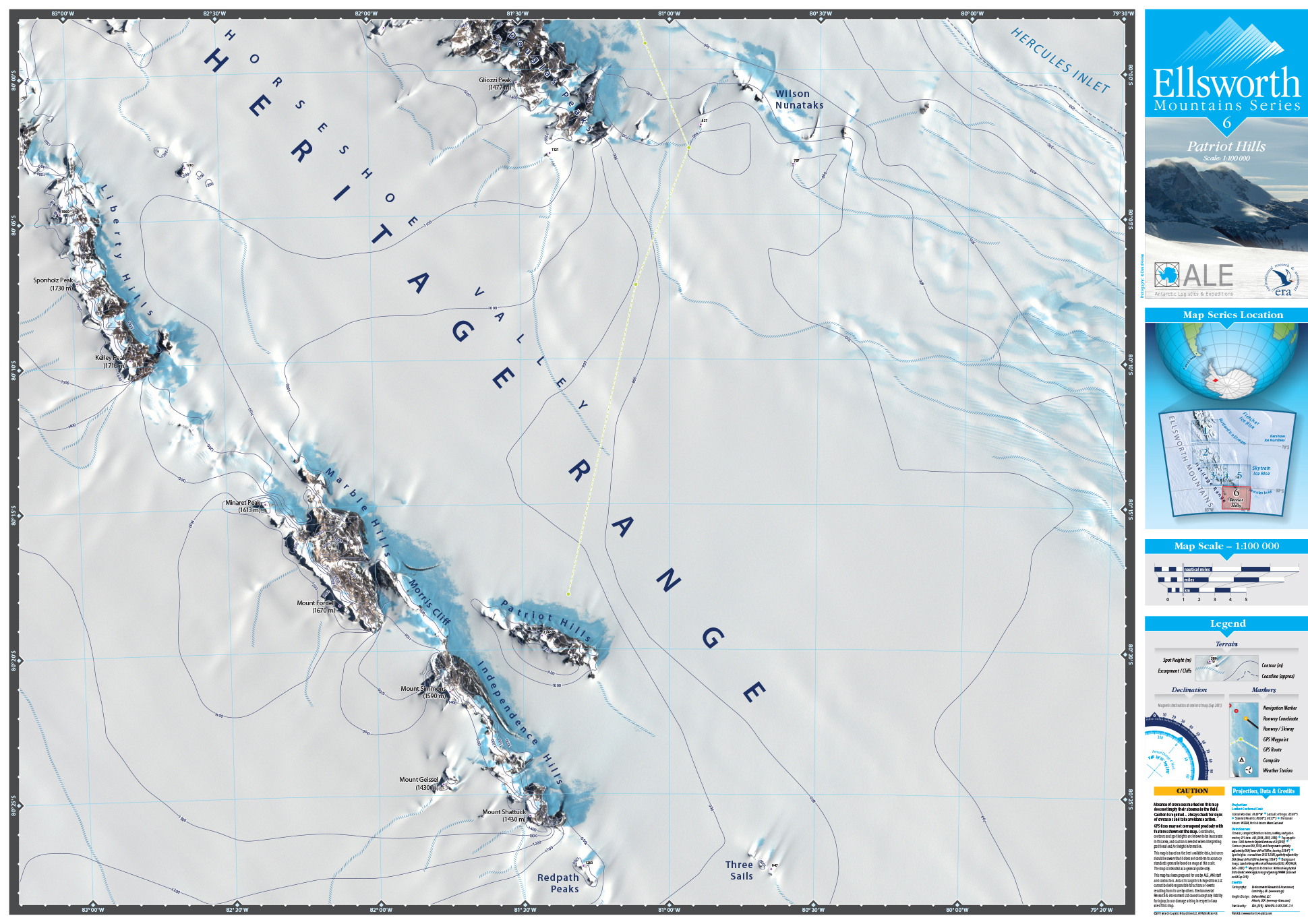 MAP DESIGN - Antarctic Logistics & Expeditions | Ellsworth Mountain Map Series | 6 Patriot Hills - ©UnParalleled, LLC dba UP-Ideas / Roger Sawhill / Mark Braught - Atlanta, Georgia | Lawrenceville, Georgia | Commerce, Georgia