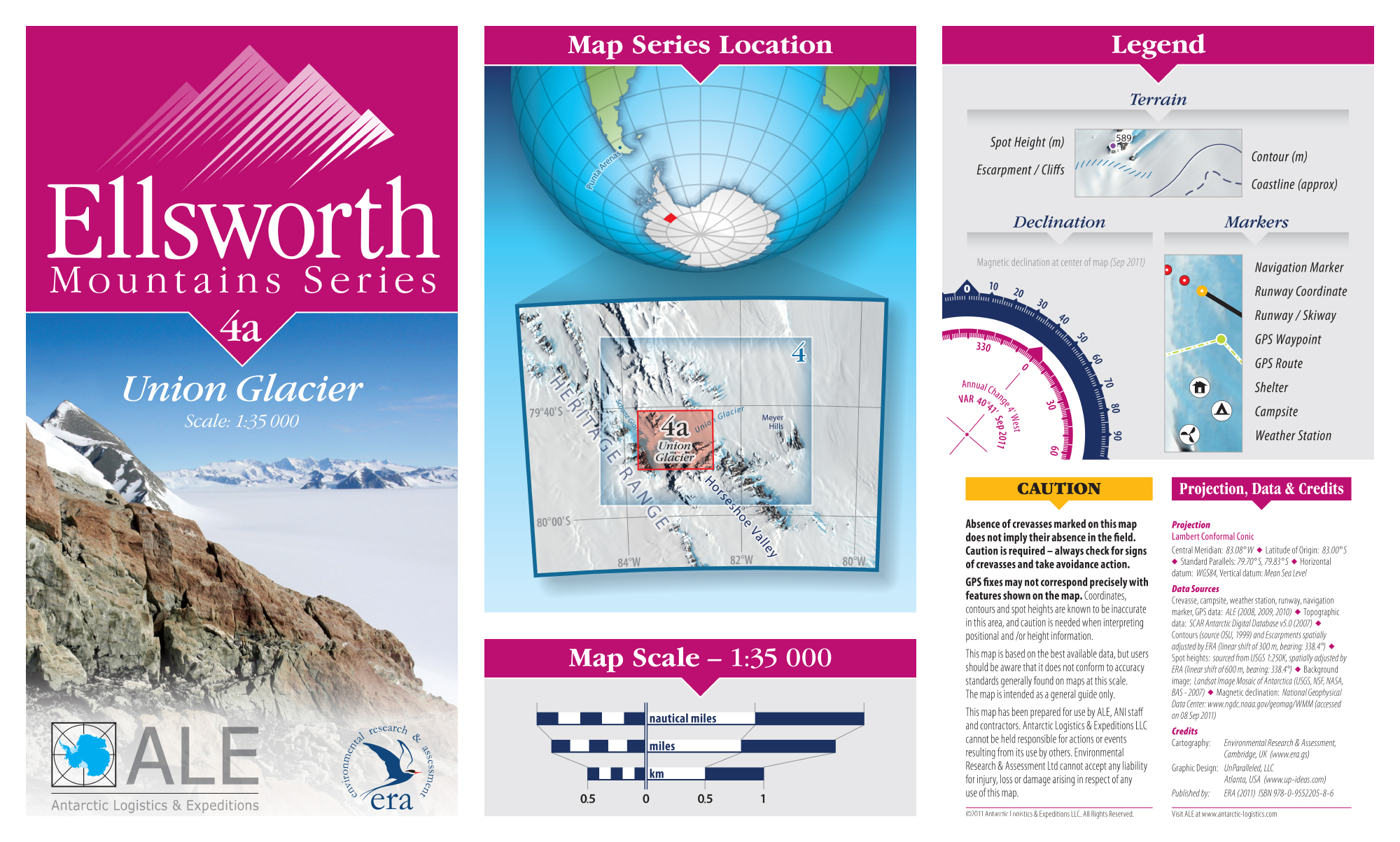 MAP DESIGN - Antarctic Logistics & Expeditions | Ellsworth Mountain Map Series | Legend Panels - ©UnParalleled, LLC dba UP-Ideas / Roger Sawhill / Mark Braught - Atlanta, Georgia | Lawrenceville, Georgia | Commerce, Georgia