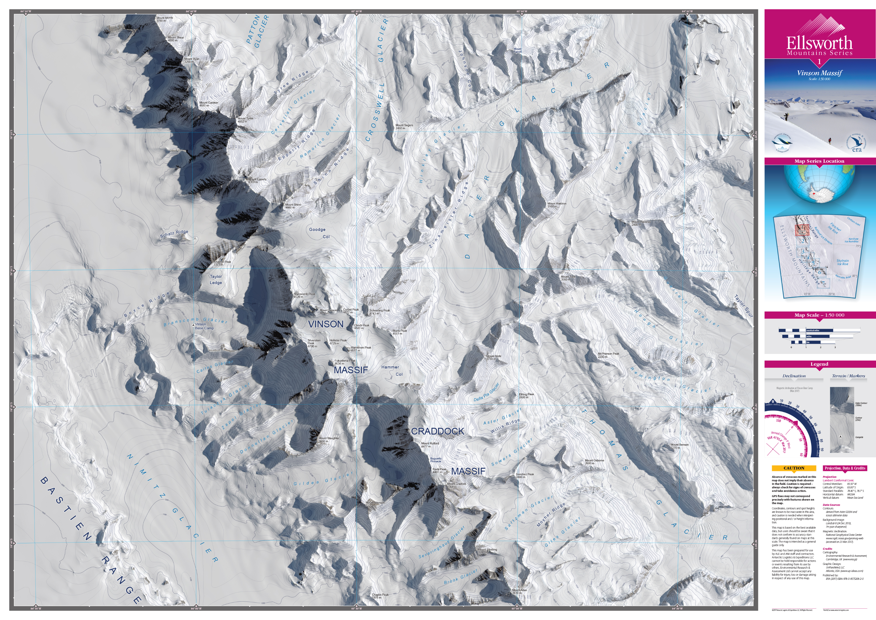 MAP DESIGN - Antarctic Logistics & Expeditions | Ellsworth Mountain Map Series | Vinson Massif 1:50,000 - ©UnParalleled, LLC dba UP-Ideas / Roger Sawhill / Mark Braught - Atlanta, Georgia | Lawrenceville, Georgia | Commerce, Georgia