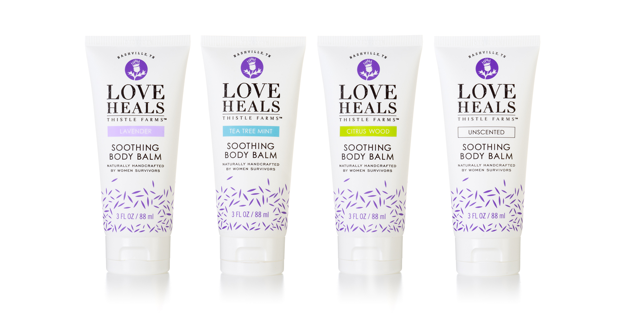 PACKAGE DESIGN - Thistle Farms | body balm tubes - ©UnParalleled, LLC dba UP-Ideas / Roger Sawhill / Mark Braught - Atlanta, Georgia | Lawrenceville, Georgia | Commerce, Georgia