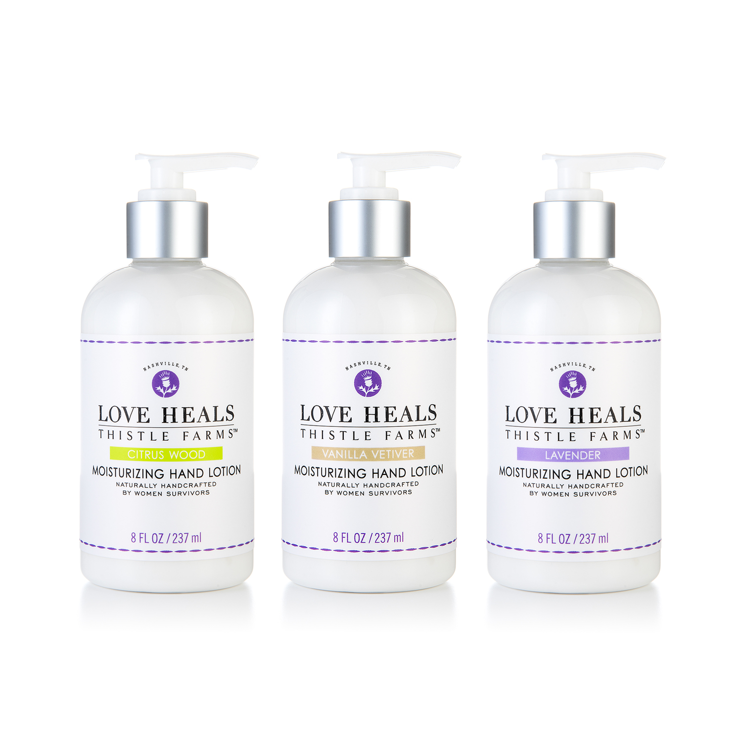 PACKAGE DESIGN - Thistle Farms | hand lotion bottles and labels - ©UnParalleled, LLC dba UP-Ideas / Roger Sawhill / Mark Braught - Atlanta, Georgia | Lawrenceville, Georgia | Commerce, Georgia