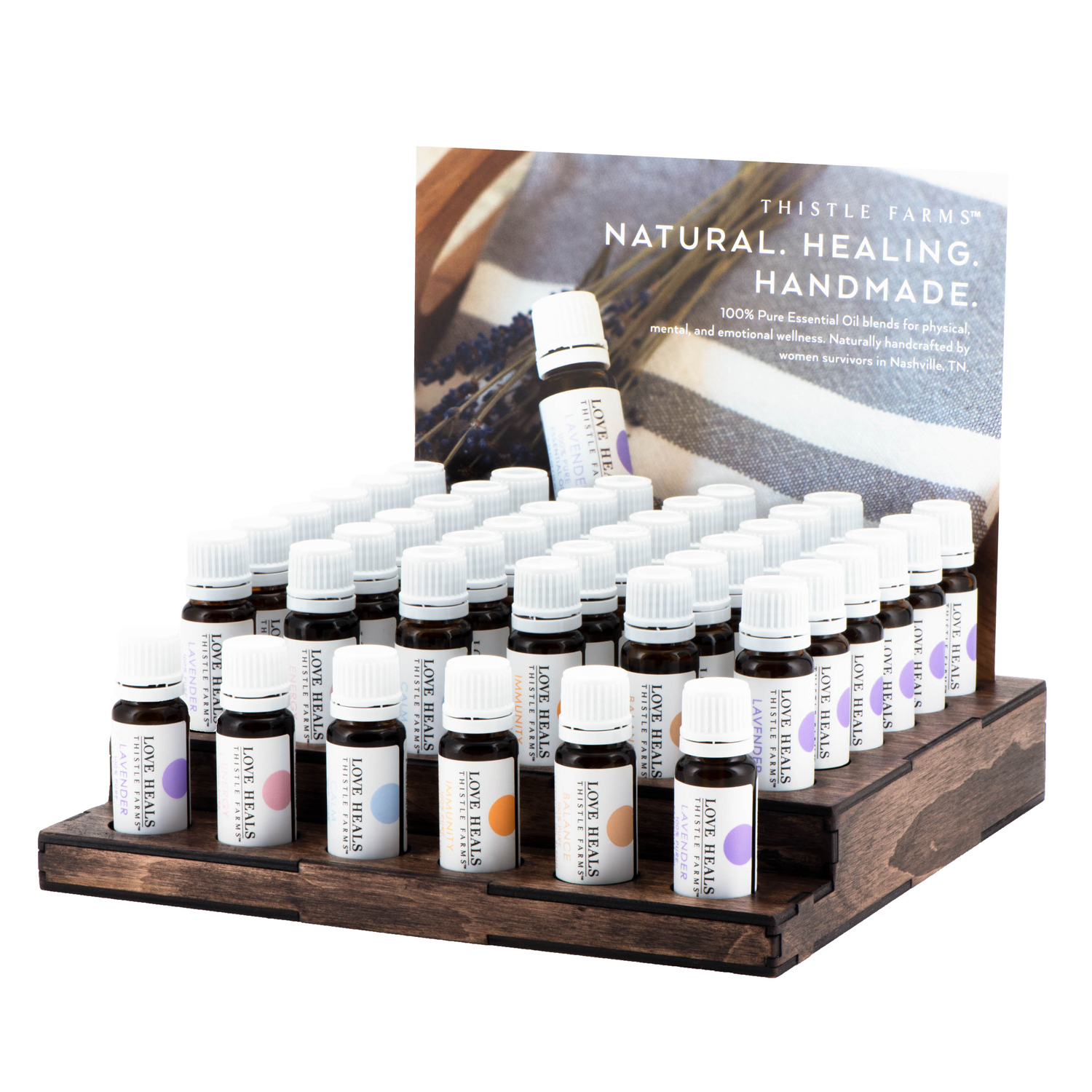 PACKAGE DESIGN - Thistle Farms | healing oils display - ©UnParalleled, LLC dba UP-Ideas / Roger Sawhill / Mark Braught - Atlanta, Georgia | Lawrenceville, Georgia | Commerce, Georgia