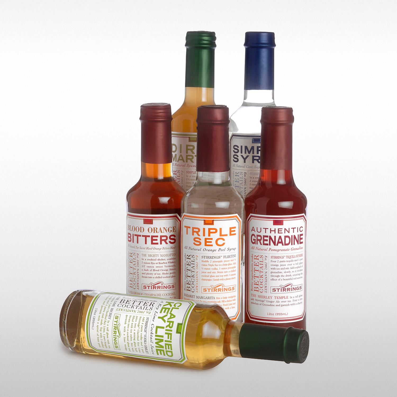 PACKAGE DESIGN - Stirrings | bar ingredient labels - ©UnParalleled, LLC dba UP-Ideas / Roger Sawhill / Mark Braught - Atlanta, Georgia | Lawrenceville, Georgia | Commerce, Georgia